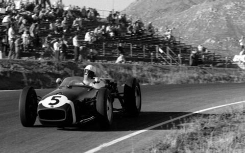 Stirling Moss at the 1960 United States Grand Prix at Riverside.