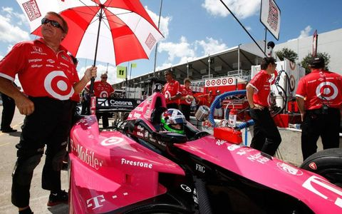 Dario Franchitti on the IndyCar grid prior to the race at Houston.