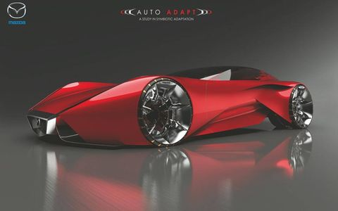Mazda Design America's AUTO ADAPT is designed to change from fully autonomous mode to a manual drive mode.