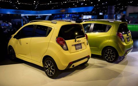 The 2013 Chevrolet Spark come in a pastel color palette.