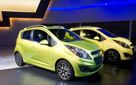 The subcompact 2013 Chevrolet Spark at the Los Angeles Auto Show