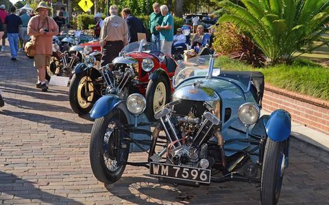 A grouping of Morgan three-wheelers lines up on Park Avenue in Winter Park Florida's Central Park during the 11th annual Winter Park Concours d'Elegance.
