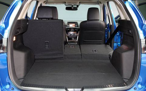 The Mazda CX-5 crossover rear seats can split and fold in a 40/20/20 configuration.