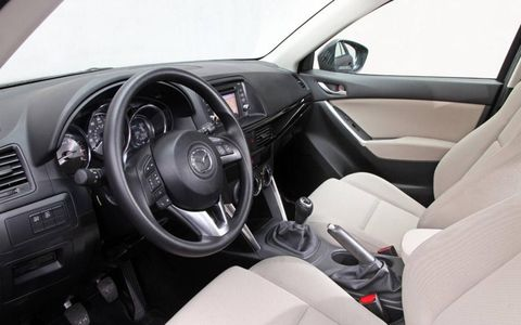 The Mazda CX-5 uses a more conventional interior design than some recent Mazda models.