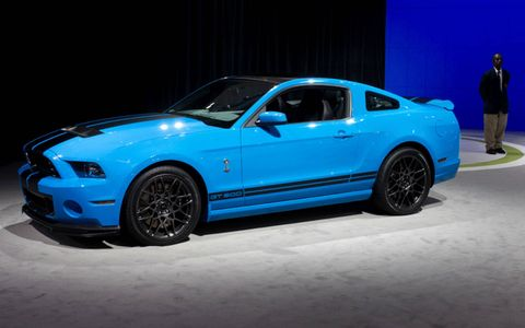 Side view of the 2013 Ford Mustang Shelby GT500 at the Los Angeles Auto Show