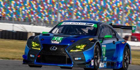 Scott Pruett put the Lexus RC F GT3 through a shakedown session at Daytona International Speedway on Tuesday.
