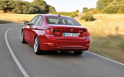 Rear view of the 2012 BMW 3-series sedan.