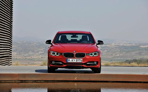 A look at the front of the BMW 3-series sedan.