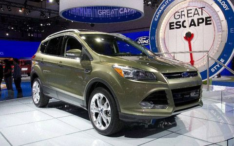 Green 2013 Ford Escape at the Los Angeles Auto Show