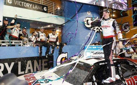 Brad Keselowski got in on the celebration after winning the NASCAR Nationwide Series race at Homestead.