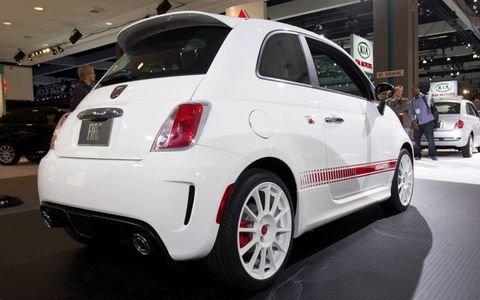 Rear view of the white 2012 Fiat 500 Abarth