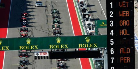 Cars line up for the start of the Formula One U.S. Grand Prix at Circuit of the Americas.