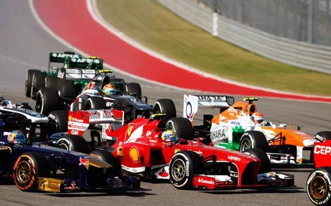 There was plenty of traffic at the first turn for the start of the USGP on Sunday.