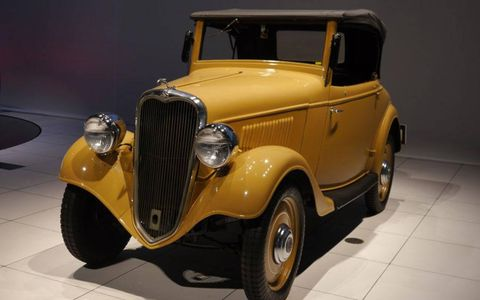 The 1935 Datsun 14 Roadster was the first car to come off the assembly line in Yokohama. It's more famous for the rabbit leaping off the hood.