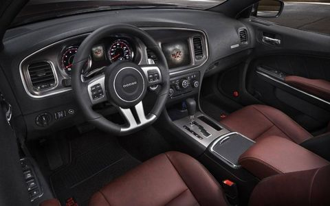 Interior look at the 2014 Charger 100th Anniversary Edition.