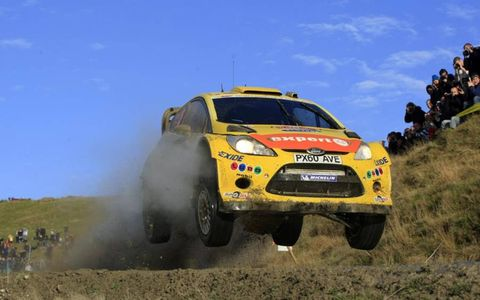 Henning Solberg catches some air in his Ford WRC during Rally Great Britain, Nov. 10-13. Photo by: McKlein/LAT Photographic