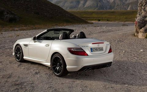 No manual transmission option is offered on the 2012 Mercedes-Benz SLK55 AMG roadster. Some found the automatic gearbox to be the weak link in terms of driving enjoyment.