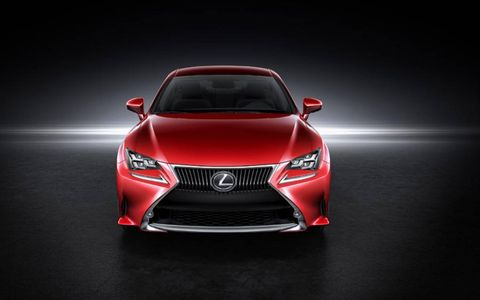 The Lexus spindle grill drapes across the hood, narrowly dragging the ground on the Lexus RC Coupe.