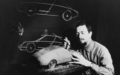 Butzi Porsche with clay model.
