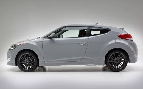 The 2013 Hyundai Veloster RE:MIX is front-wheel drive and has a six-speed manual transmission.