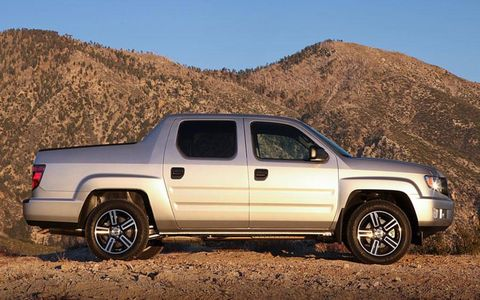 The 2012 Honda Ridgeline Sport isn't fast by any means, but it has a four-wheel drive system, a fair amount of grunt and the ability to tow 5,000 pounds.