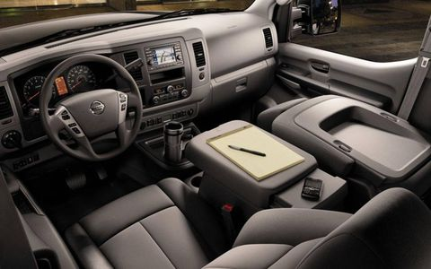 Forward sensors and reasonable sight lights--for a full-size van, at least--make the 2012 Nissan NV Passenger SL relatively easy to drive.