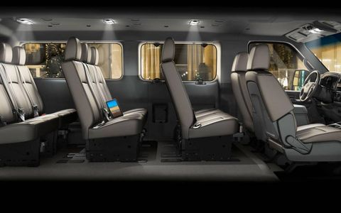 With its bench seats removed, the 2012 Nissan NV Passenger SL transforms from a people-hauler to a cargo-hauler.