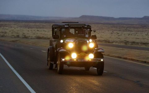 The Ford cruises through the desert during the last leg of the run.