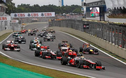Lewis Hamilton leads the field at the start of the Brazilian Grand Prix on Sunday.