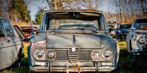 One of a couple Giulia Super sedans on Leonard's property.