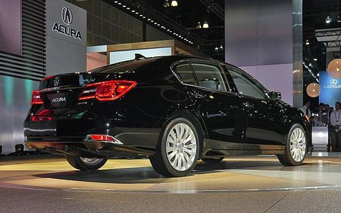 A rear view of the 2014 Acura RLX.