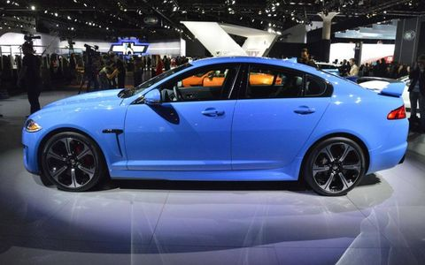 A side view of the Jaguar XFR-S at the Los Angeles Auto Show.
