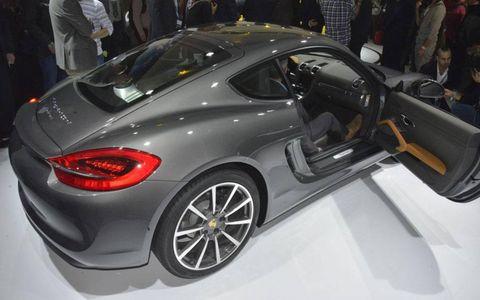 A rear view of the Porsche Cayman.