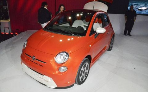 The Fiat 500e goes on sale in California in 2013.