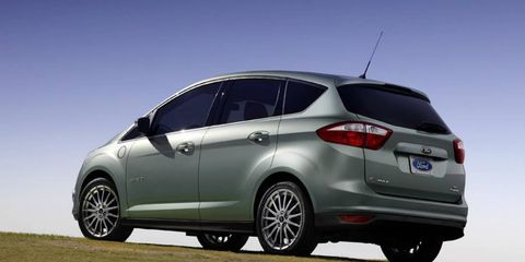 The 2013 Ford C-Max Energi gets Ford's automatic tailgate, which is actuated with a waive of a foot.