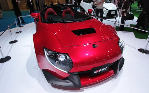 The new GRMN concept weighs 3,300 pounds and has a gasoline-powered V6 engine positioned mid-vehicle--a move Toyota says should improve performance and stability.
