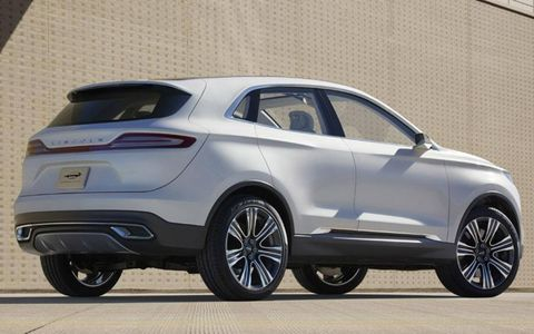 Muscular character lines along the beltline are a styling cue for the Lincoln MKC concept.