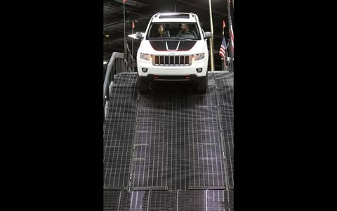 WILD RIDE // Visitors to the San Diego International Auto Show last month were treated to rides in a Jeep Grand Cherokee through an obstacle course constructed on the show floor. Photo by: Zumapress