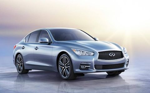 A front view of the Infiniti Q50.