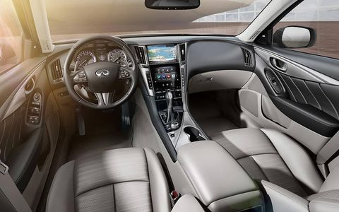 The interior of the Infiniti Q50.