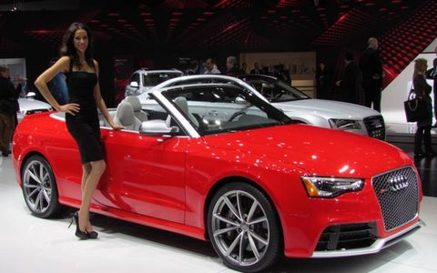 An Audi booth professional at the Detroit auto show.