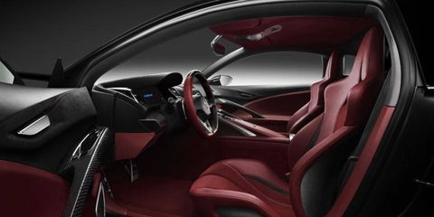 The view of the driver's seat in the Acura NSX concept.