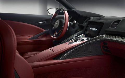 A view of the gauge cluster on the Acura NSX concept.