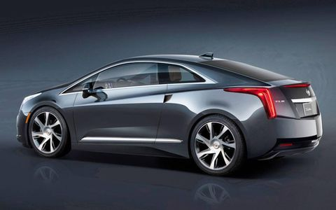 A rear view of the 2014 Cadillac ELR.