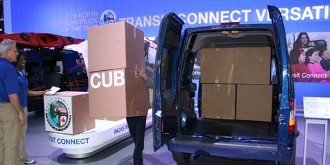 See how many boxes you can fit in a Ford. Like Tetris in a Transit.