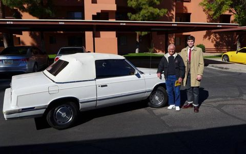 Your humble author with his newly purchased 1982 Chrysler LeBaron convertible and its former owner.