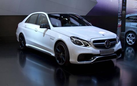 Front 3/4 view of the 2014 Mercedes-Benz E63 AMG.
