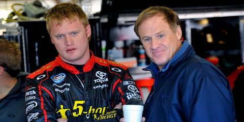 Why the sad face, Steve? On Friday it was announced that Rusty Wallace Racing was suspending all on-track activities. Pictured are Steve Wallace, left, and Rusty Wallace, right.