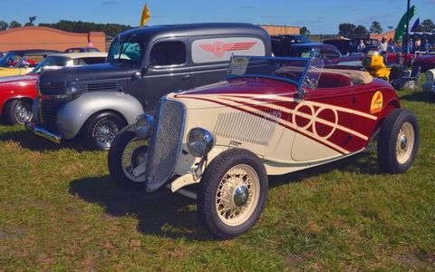The 1933 Ford Roadster of Bill and Sharon Davis of Dade City, Fla., and Ortonville, Mich. Davis, who is now retired from General Motors, was the chief designer on the Chevrolet SSR.