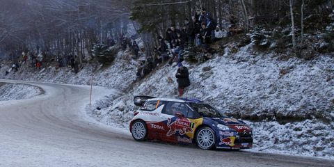 Sébastien Loeb glides around a corner during the Monte Carlo Rally. He is leading at the end of the first day of action.